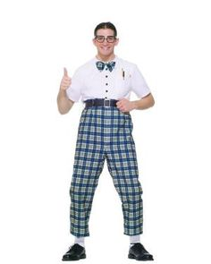 #61695 The Class Nerd Costume comes with one-piece costume with attached bow-tie and belt. All you need is a pocket protector and some thick rimmed glasses and you'll be an official NERD for Halloween