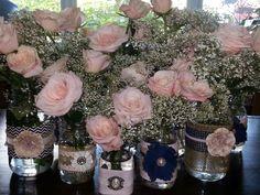 Shabby Chic Wedding Mason Jars with roses and baby's breath