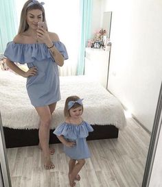 Mommy & daughter matching #mother_daughter_fashion