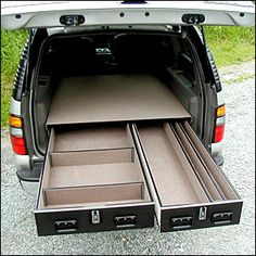 Ideas for SUV storage, including secure long gun storage - Survivalist Forum Truck Bed Drawers, Truck Bed Storage, Van Storage, Diy Drawers, Truck Bed Organizer, Drawer Storage, Suv Camping, Camping 101, Camping Hammock