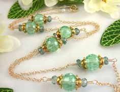 Bohemian green peridot opera length gold necklace by KBlossoms, $58.00