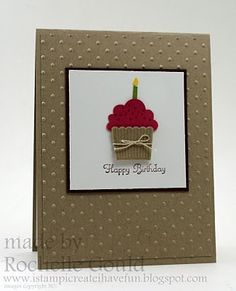 simple cupcake bday card - try elevating cupcake with foam tape and using real wax birthday candle!