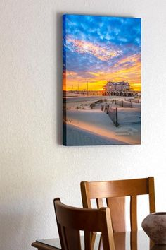 Sand dunes and sand fence at sunrise at Jennette's Pier in Nags Head on the Outer Banks of NC. Outer Banks Beach, Stretched Canvas Prints, Dune, Sunrise, Nags Head, Frame, Painting, Art, Dibujo