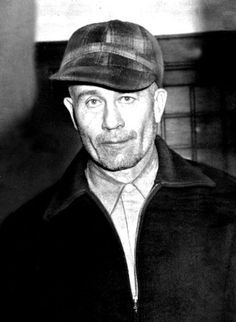 """On July 26, 1984, Ed Gein, a serial killer infamous for skinning human corpses, dies of complications from cancer in a Wisconsin prison at age 77. Gein served as the inspiration for writer Robert Bloch's character Norman Bates in the 1959 novel """"Psycho,"""" which in 1960 was turned into a film starring Anthony Perkins and directed by Alfred Hitchcock."""