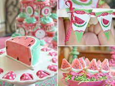 Watermelon themed birthday party via Kara's Party Ideas karaspartyideas.com #watermelon #summer #party #idea #girl