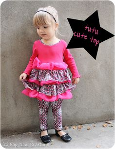 Tutu Cute Top - Peek-a-Boo Pages - Sew Something Special Sewing Kids Clothes, Sewing For Kids, Doll Clothes, Boys Sewing Patterns, Kids Patterns, Sewing Ideas, Sewing Tutorials, Sewing Blogs, Sewing Crafts