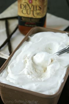 Bourbon  Vanilla Bean No Churn Ice Cream | Living Better Together