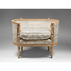 18th Century Louis XVI Painted Beechwood Bergére Chair. So elegant! The shape reminds me of Wesley-Barrell's Clanfield sofa...
