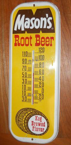 "Mason's Root Beer Antique Thermometer (Old Vintage Soda Pop Drink Beverage Advertising Metal Sign, ""Keg Brewed Flavor"")"