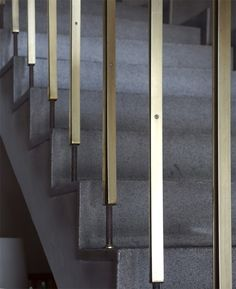 A apartment building stair with terrazzo steps and aluminium rails. Staircase Handrail, Interior Staircase, Stair Railing, Stair Risers, Railing Design, Staircase Design, Architecture Design, Building Stairs, Stair Detail