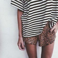 Mixed Prints: Shop similar shorts at MickeysGirl.com! #shorts #summerfashion #stripes