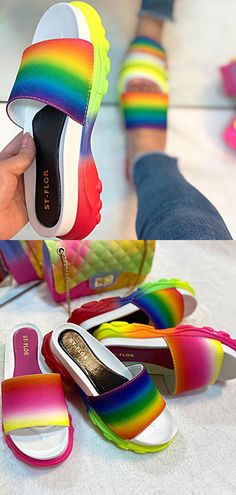 Tiosebon Color Sports Slippers  #shoes #women #sandals #tiosebon #slipper