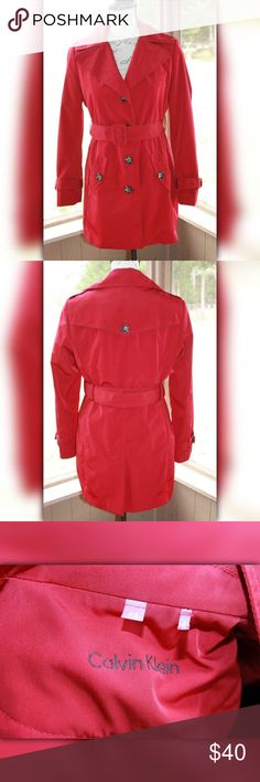 "Calvin Klein Petite Small Women's Trench Rain Coat Calvin Klein Petite Small Women's Trench Rain Coat Red Petite Raincoat Jacket This jacket is used. No holes, stains or tears. Nice! Missing detachable hood.  This jacket (while laying flat) measures:  PIT to PIT:  22"" Length:  32""  Non-Smoking Home Non-Pet Home Please message me with any questions Calvin Klein Jackets & Coats Trench Coats"