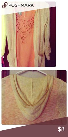 Pastel Yellow Maurice's Sweater Pastel yellow sheer hooded sweater with pockets. Size xsmall, 3/4 length sleeves. Worn only a couple times, excellent condition Maurices Sweaters