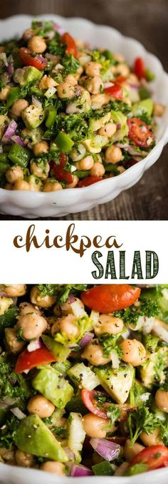 Chickpea Salad is a quick and easy throw together salad packed with raw vegetables and super foods. No cooking required! A quick mix of canned garbanzo beans, avocado, onion, pepper, celery, tomatoes and a light lemon vinaigrette make a light and healthy meal full of protein and vitamins. #chickpea #chickpeasalad #garbanzobeans #avocado #salad #raw #healthy #lunch