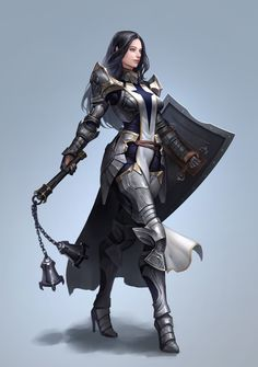 f Cleric Med Armor Shield Flail Crusader by Seok Jeon Fantasy Character Design, Character Concept, Character Inspiration, Character Art, Concept Art, Dnd Characters, Fantasy Characters, Female Characters, Female Armor