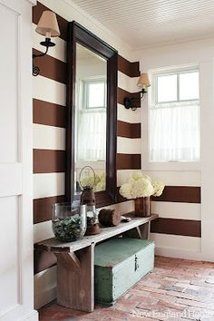 Chic Rustic Entryway: large mirror, decorated bench and storage chest, from Auction Decorating