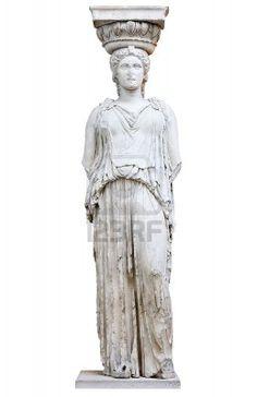 Cariátide griega o columna en una forma femenina