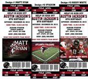 8 NFL Atlanta Falcons Football Birthday Party Ticket Invitations