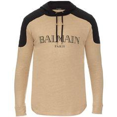 Balmain Logo-printed hooded sweatshirt featuring polyvore, men's fashion, men's clothing, men's hoodies, mens hoodies and mens sweatshirts and hoodies