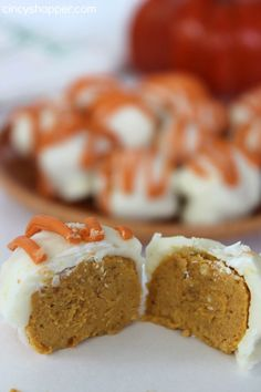 Pumpkin Truffles Recipe. Perfect for our dessert table this holiday season! Pumpkin, cream cheese, chocolate oh my!
