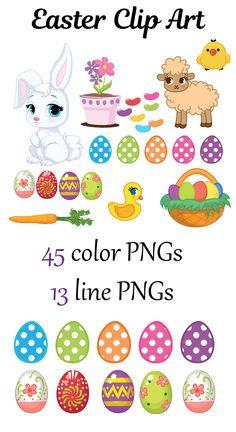 Easter Clip Art | Easter Rabbit Clip Art | Easter Eggs Clip Art #TPT #TPTClipArt