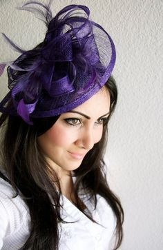 "Purple Fascinator - ""Penny"" Mesh Hat Fascinator with Mesh Ribbons and Purple Feathers"