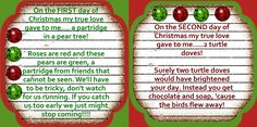 The 12 Days of Christmas...The sweetest idea.  Might do this for my grandparents this year.