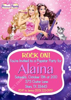 Barbie Princess and the Popstar Custom Personalized Invitation. $6.00, via Etsy.