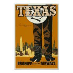 vintage travel posters | Vintage Travel Poster Texas Braniff Airways