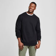 Men's Big & Tall Fleece Crew Neck Sweatshirt - Goodfellow & Co Black 2XBT