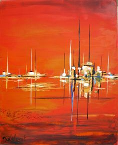 Figurative Abstract - Painting, cm © 2009 by Francis Jalibert - Painting, Oil Art Sur Toile, Sailboat Painting, Boat Art, Encaustic Art, Impressionism Art, Acrylic Art, Contemporary Paintings, Land Scape, Painting Inspiration