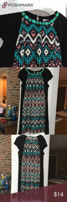 Madison Leigh size 16 turquoise beaded dress! Geometric black and turquoise abstract dress! Beaded on top. Soft material Madison Leigh Dresses Midi