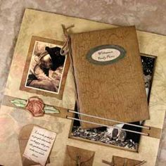 This Scrapbook page holds a mini album - Club Scrap's Kay Williamson Foam Core page project