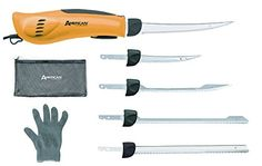 American Angler Pro Electric Fillet Knife with Glove and 5 Blades >>> Read more reviews of the product by visiting the link on the image.