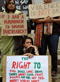 Women protest in Bangalore (The bottom sign is particularly awesome)