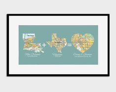 CUSTOM Valentines Day Gift with 3 Maps by droppedpinshop on Etsy