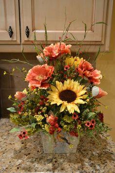 Summer Sunflower and Poppy Arrangement by kristenscreations