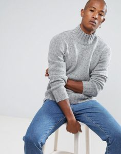 Selected Homme Knitted High Neck Sweater In Wool Mix With Fleck Detail