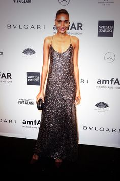 Arlenis Sosa looking stunning in Marc Jacobs FW13 at the amFAR NY event