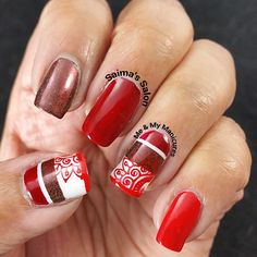 """My Manicure: Tri-Red  My manicure uses reds times three, It's Briarwood,  Holidaze and Sooki for me, All are red but in varying hue, But still are red,…"""