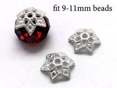 10 Silver Plated Greek Zamak Heart Beads; Size 8x10mm
