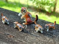 Miniature CHIPMUNK FAMILY 5 pc matching set vintage 1960s Bone China by OurVintageHouse on Etsy