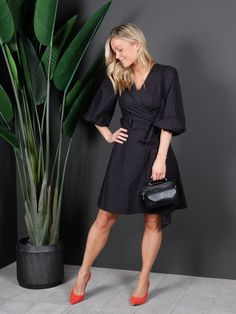 Phoebe Wrap Short Dress Black - Second Female - Samsara Wrap Dress Short, Short Dresses, Dress Black, Dresses With Sleeves, Female, Long Sleeve, Fashion, Short Frocks, Gowns With Sleeves