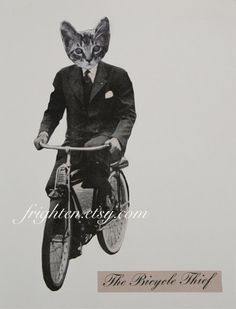 Cat Art, Print of Paper Collage, The Bicycle Thief, Minimal Black White and Gray Animal Art