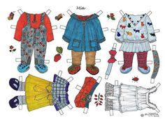 Karen`s Paper Dolls: Mia 1-3 Paper Doll in Colours. Mia 1-3 påklædningsdukke i…