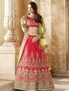 Pink Raw Silk Lehenga Choli with Embroidery Work