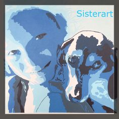Meisje met hond  Blauwtinten  Popart-SisterArt