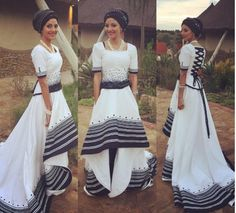 Photos of Traditional Xhosa Wedding Photos: South African + Traditional + Wedding + Dresses Traditional Dresses Designs, African Traditional Wedding Dress, Traditional Wedding Attire, African Wedding Dress, African Print Dresses, African Dress, Traditional Outfits, African Prints, Traditional Weddings