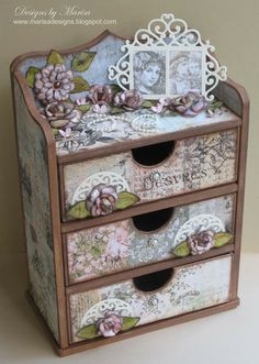 Get inspired in the Heartfelt Creations Project Gallery. Free scrapbook layouts, altered art projects and more with instructions. Altered Boxes, Altered Art, Shabby Chic Furniture, Painted Furniture, Cardboard Crafts, Paper Crafts, Wooden Painting, Tole Painting, Heartfelt Creations Cards